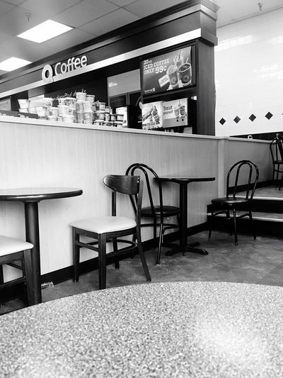 Waiting on the other side... Blackandwhite Tablesandchairs Empty IPhoneography Hope Convenience Store Quickchek