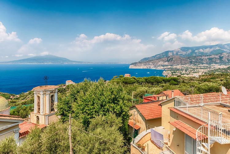 Aerial view of Mount Vesuvius and the town of Sorrento, Bay of Naples, Italy Architecture Beauty In Nature Building Exterior Built Structure Cloud - Sky Day Horizon Over Water Mountain Nature No People Outdoors Scenics Sea Sky Tree Water