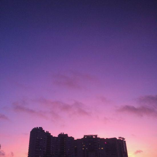 🏜sunset Building Exterior Architecture Built Structure Sky City Building Purple Sunset Pink Color Nature No People Skyscraper City Life Cityscape Cloud - Sky