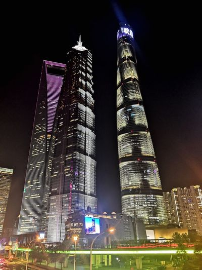 Illuminated Night Architecture Built Structure Low Angle View Building Exterior City Building Tall - High Skyscraper Office Building Exterior No People Sky Modern Decoration Outdoors