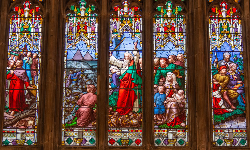 2019 Gloucester Gloucester Cathedral June No People Glass - Material Window Stained Glass Male Likeness Female Likeness Spirituality Place Of Worship Belief Religion Egypt