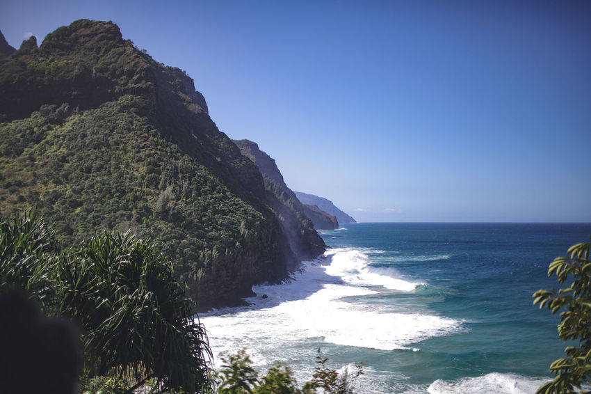 Hawaii Beach Beauty In Nature Blue Clear Sky Cliff Day Horizon Over Water Mountain Napali Coast Nature No People Outdoors Scenics Sea Sky Tranquil Scene Tranquility Water Wave