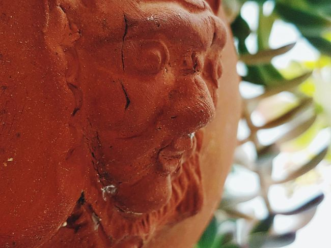 Pottery Art Claysculpture Mayan Art Orange Ancient Profile Close Up Human Body Part Human Face Representation.