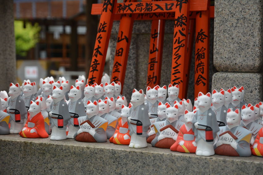 ASIA Asian Culture Cats Of EyeEm Japan Japan Photography Japanese  Japanese Culture Japanese Temple Kanji Place Of Worship TORII Worship Cats Close-up Fushimi Inari Shrine Kyoto Kyoto,japan Large Group Of Objects Outdoors Red Remembrance Spirituality Statuettes Symbols Temple