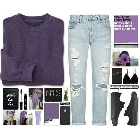 Fashion Moda Style Look Purple Converse NARS