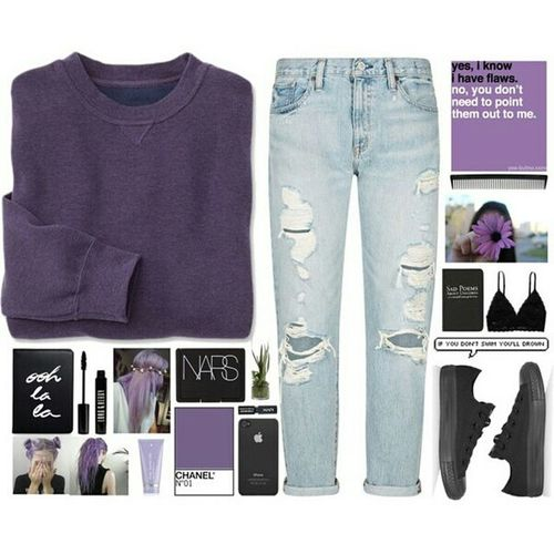 Fashion Moda Style Look Purple Converse NARS