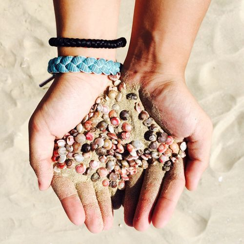 Directly Above Shot Of Hands Holding Sand And Seashells At Beach
