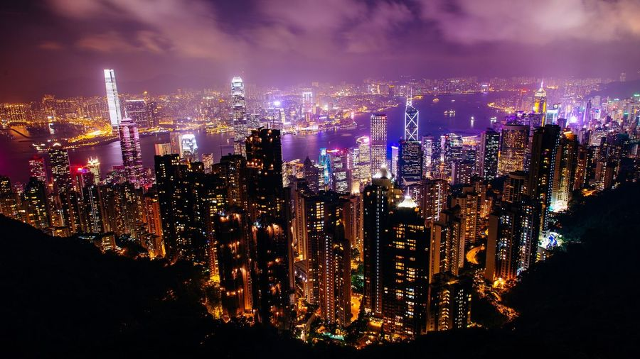 Building cluster Hong Kong The Peak Illuminated Night City Built Structure Cityscape Architecture Sky Skyscraper Glowing Building Landscape City Life