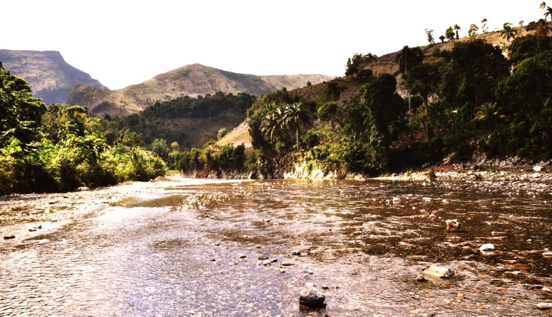 Haitian River River Clear Sky Tree Area Pinaceae Rock - Object Water Sky Landscape Plant Rocky Mountains Physical Geography Geology Rugged Irrigation Equipment Natural Landmark