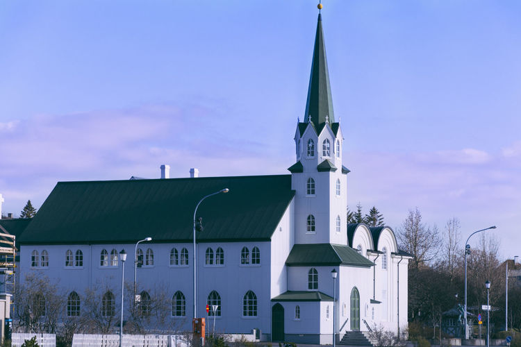 Architecture Blue Blue Hour Building Exterior Church City Iceland Iceland Memories Iceland_collection Low Angle View Outdoors Reykjavik Sky Tjörnin