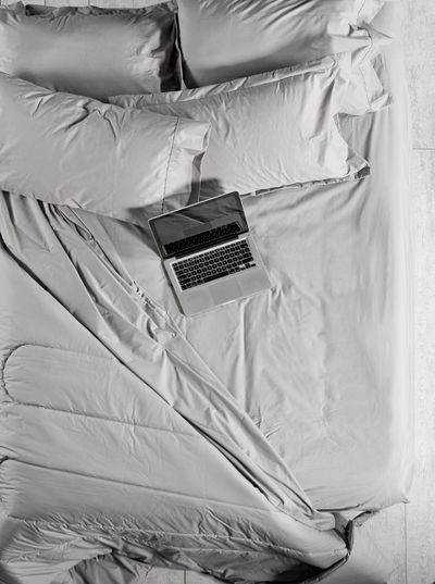 High angle view of bed at home