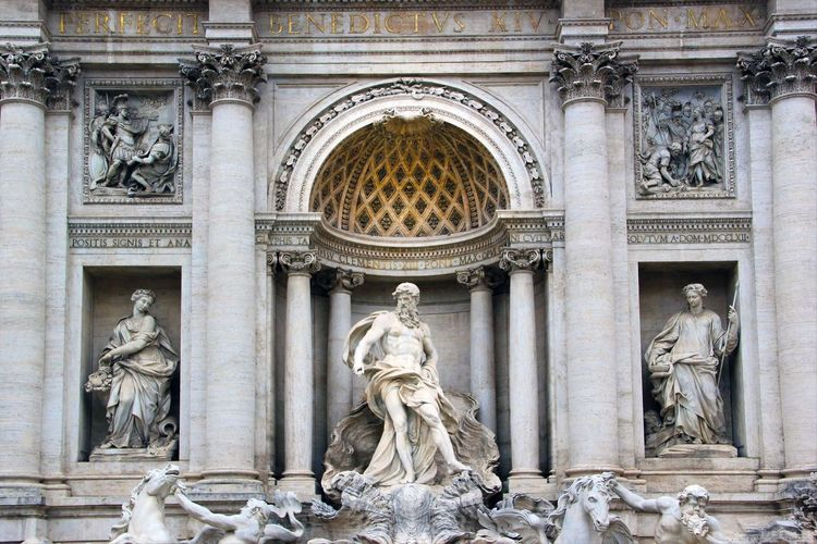 Low Angle View Of Sculptures At Trevi Fountain