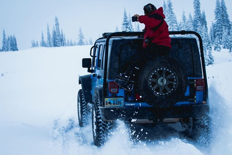 Winter Snow Cold Temperature Weather Snowing Transportation Land Vehicle White Color Frozen Warm Clothing Car Mode Of Transport Outdoors One Person Nature Day Fog Snowflake Adventure Snowdrift Jeep Jeep Life Colorado