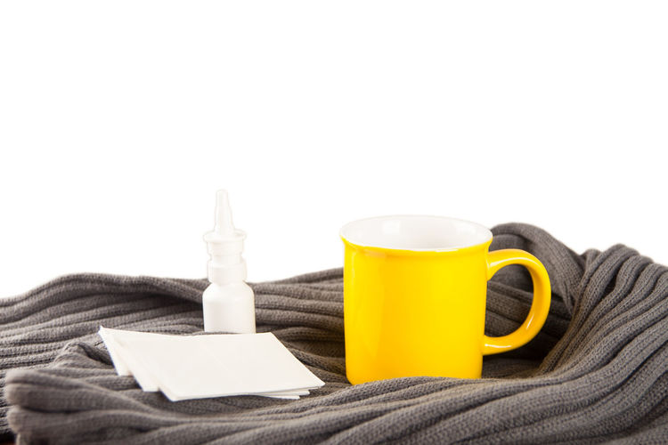 Close-up Copy Space Cup Day Drink Indoors  Nasal Nasal Spray No People Spray Studio Shot White Background Yellow