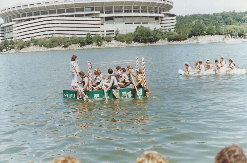 1986 Anything that Floats Race Racing Day Funny Boat Large Group Of People Leisure Activity Nature Outdoors People Real People River Sky Togetherness Water Waterfront