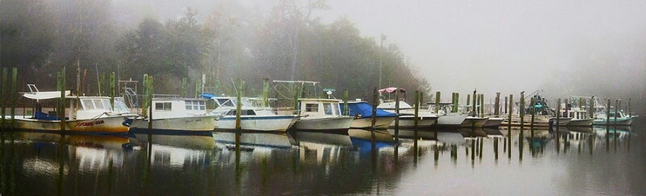 Panorama Shrimp Boat Atmosphere Fog Coastal