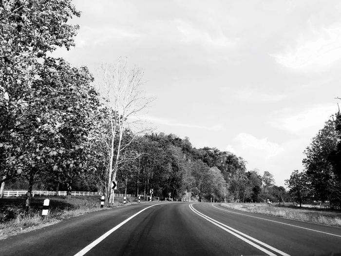 Empty road along trees and against sky