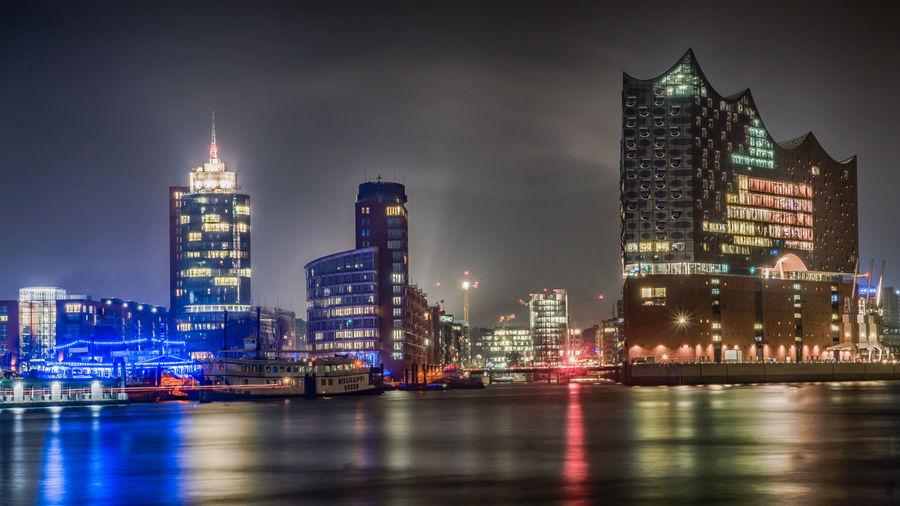 Buildings Elbe River Elbphilharmonie Hamburg, Harbour, St.- St., Pauli, Pauli-, Landungsbrücken, Landungsbruecken, At, Dusk Harbour HDR Lights Reflexions First Eyeem Photo