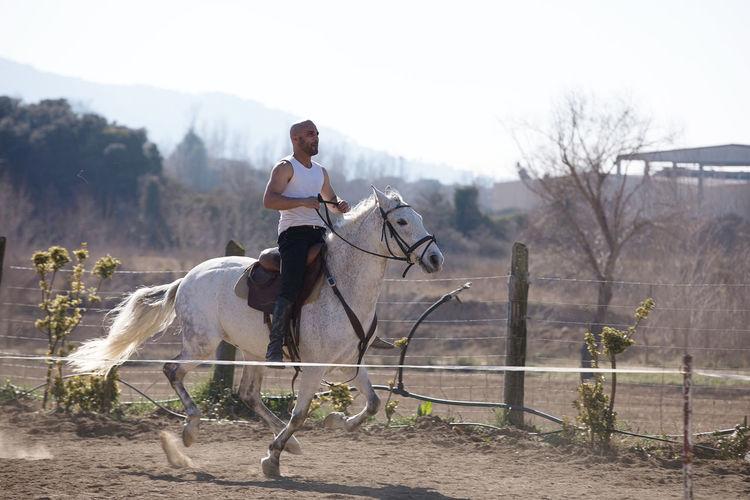 Full length of man sitting on horse against sky