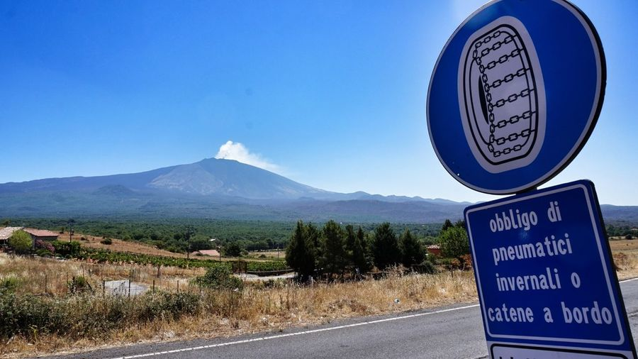 Road Sign Blue Volcano Etna Etna Volcano Etna, Mountain, Sicily, Snow Chains Italia Sicilia Sicily Travel Destinations Eye4photography  Clear Sky