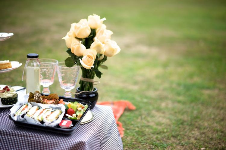 Celebration Close-up Day Flower Food Food And Drink Freshness Grass Healthy Eating Horizontal No People Outdoors Picnic Ready-to-eat