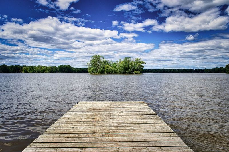 Cloud - Sky Water Sky Tree Lake Plant Tranquility Beauty In Nature Tranquil Scene Nature Scenics - Nature Day No People Wood - Material Direction Pier Outdoors The Way Forward Non-urban Scene Wood Paneling Long