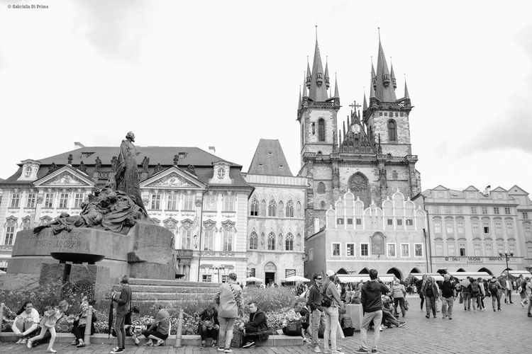 Building Exterior Large Group Of People Travel Travel Destinations History Architecture Marketplace Prague Crowd Streetphotography Aboutgabriella Blackandwhite Photography Cities Of Europe Architecture