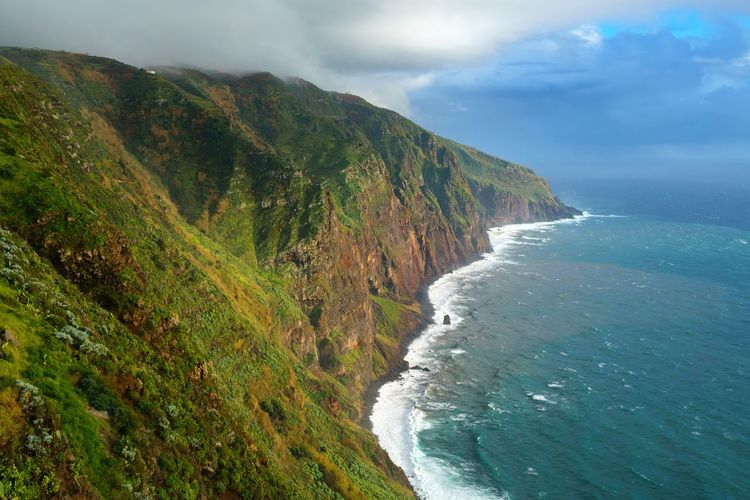 View of the landscape from Ponta do Pargo lighthouse Madeira Portugal Island Ilha Travel Landscape Nature Mountain Outdoors Panorama Panoramic Sea Seascape Coastline Waves Scenics Aerial View View Europe European  Coast Caniço Lighthouse Ponta Do Pargo Ocean