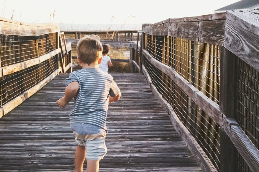 Rear View Beach People Young Adult Childhood Day Real People Railing Bridge - Man Made Structure Outdoors Full Length Sunlight Nature Shadows Summer Siblings Two People Boy And Girl Children Only BYOPaper! Live For The Story EyeEm Ready