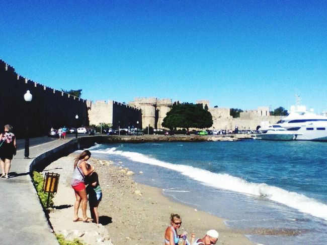 Rhodes Greece Real People Beach Clear Sky Sea Summer Architecture Sand Vacations