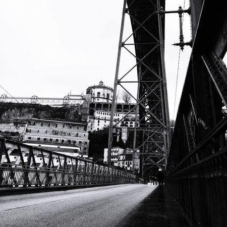 The Lonely Walk Porto Bridge Ponte Dom Luis Architecture River Douro  Road Blackandwhite Portugal Gustave Eiffel