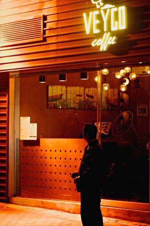 Streetphotography Light And Shadow Lamp Bulbs Lights Shadowy Figures Sillhouette Coffee Shop Scene Man Alone Street Scene