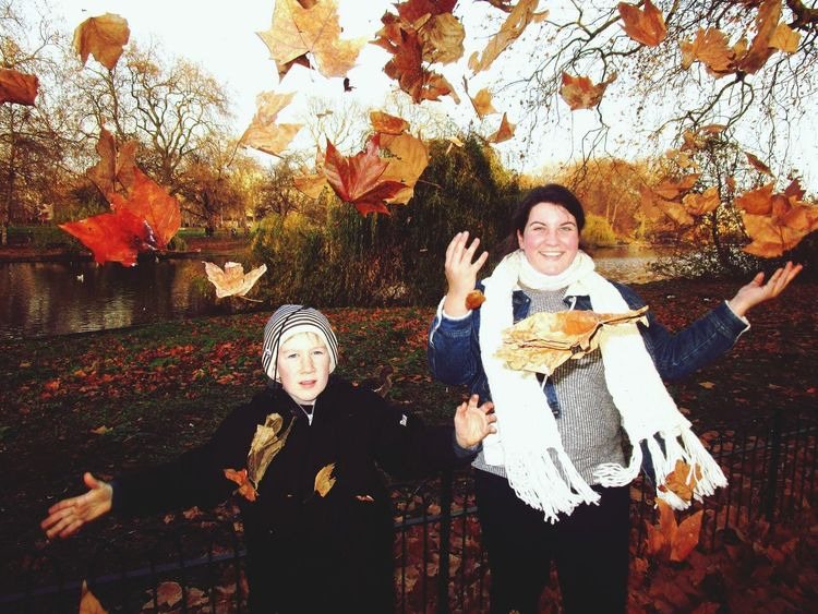 At St. James' Park with my brother. Autumn Two People Child Young Adult Outdoors Real People Front View Nature Leaves St James Park  St James Park London  London Day At The Park  Siblings Throwing Leaves