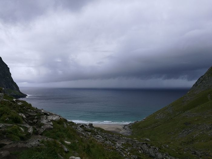 Crying sky Sea Horizon Over Water Scenics Beach Beauty In Nature Storm Cloud Cloud - Sky Outdoors No People Day The Lofoten Islands Norway Tranquility Power Awe Natural Phenomenon Power In Nature Wilderness Rough Texture Miles Away