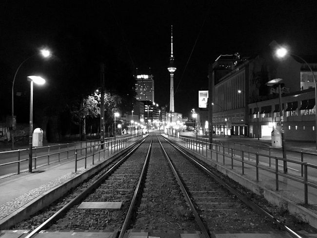 Prenzlauer Allee by night. Black And White Blackandwhite Track Rail Transportation Built Structure Track Rail Transportation Built Structure Street Light City Street No People Track Rail Transportation Built Structure Track Rail Transportation Built Structure Street Light City Street No People
