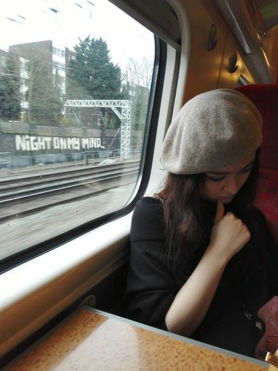 Girl On Train Transportation Knit Hat Graffiti Rail Transportation Train London Virgin Train Manchester To London Euston