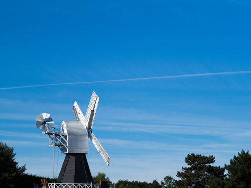 Wimbledon Windmill Wimbledon Windmill Alternative Energy Blue Blue Sky Day Environment Environmental Conservation Fuel And Power Generation Low Angle View Nature No People Outdoors Renewable Energy Sky Sustainable Resources Technology Turbine Wind Power Wind Turbine