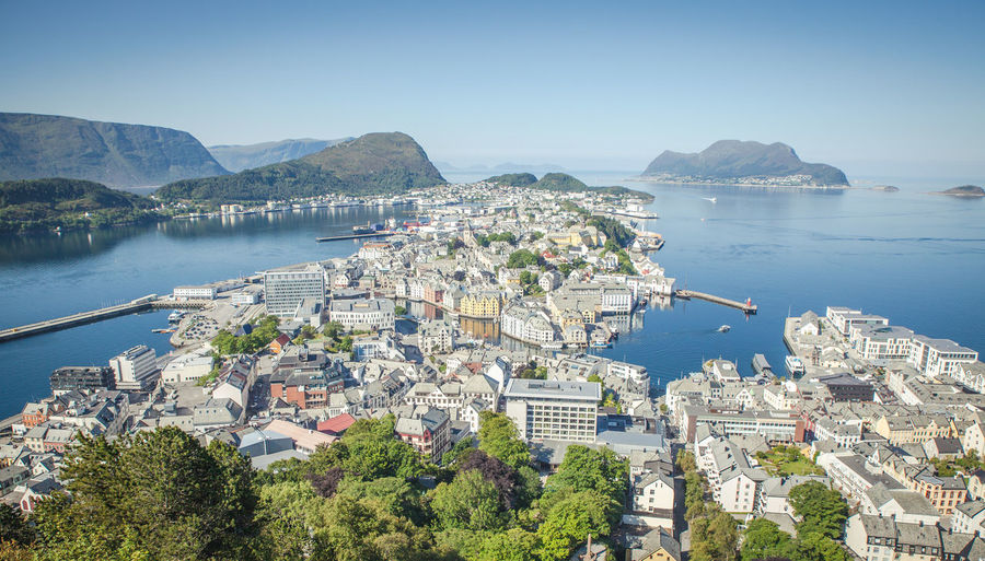 Alesund Architecture Bay Building Building Exterior Built Structure City Cityscape Day High Angle View Mode Of Transportation Mountain Nature Nautical Vessel No People Outdoors Plant Residential District Scenics - Nature Sea Sky Transportation Water Ålesund, Norway Ålesundkommune