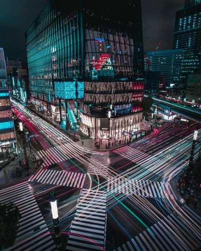 Tron. Night Night Photography Nightlife Long Exposure Light Trails Modern Future City Cityscape Tokyo Street Road Travel Fast Transportation Urban Skyline Cyberspace Connection Illuminated City Life Architecture Need For Speed Transportation Mobility In Mega Cities Colour Your Horizn Adventures In The City The Architect - 2018 EyeEm Awards The Street Photographer - 2018 EyeEm Awards HUAWEI Photo Award: After Dark Capture Tomorrow