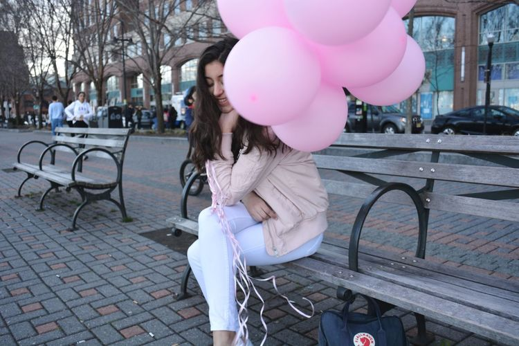 Balloon Pink Color Celebration Outdoors Helium Balloon Women Imperfection Is Beauty Millennial Pink Imperfection Free Spirit Beauty City One Person Laughter