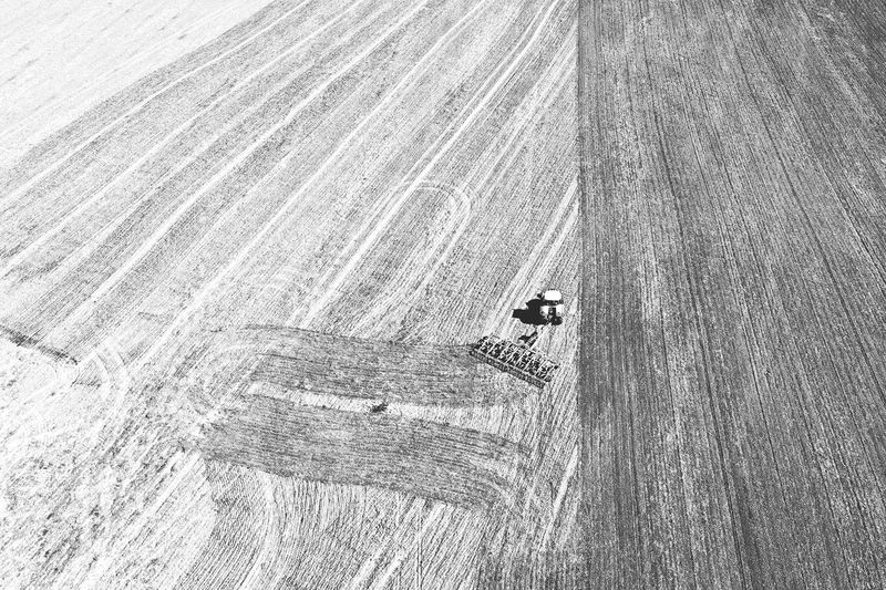 High angle view of person skiing on field