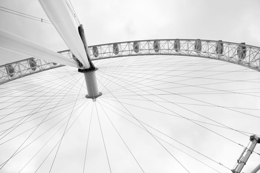 London Eye, London, United Kingdom Amusement Park B&w Black & White Black And White Photography Blackandwhite Blackandwhite Photography Bridge - Man Made Structure City Connection Day Ferris Wheel LDN London London Eye London Eye, London LondonEye Londonlife LONDON❤ Low Angle View No People Outdoors Sky Southbank Southbank London Suspension Bridge