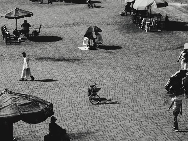 Monochrome Photography Real People High Angle View Outdoors Shadow Medium Group Of People Person Day Umbrella Market