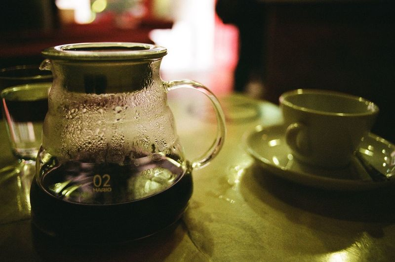 Close-Up Of Coffee Pot On Table