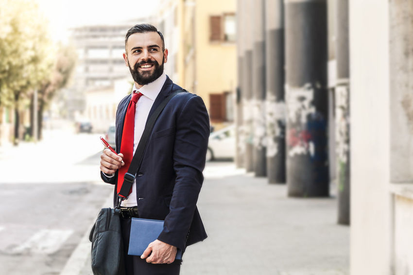 Model: Roberto Materiale Adult Architecture Building Exterior Business Business Person Businessman City Corporate Business Focus On Foreground Happiness Holding Looking At Camera Males  Men One Person Outdoors Portrait Smiling Standing Three Quarter Length Well-dressed