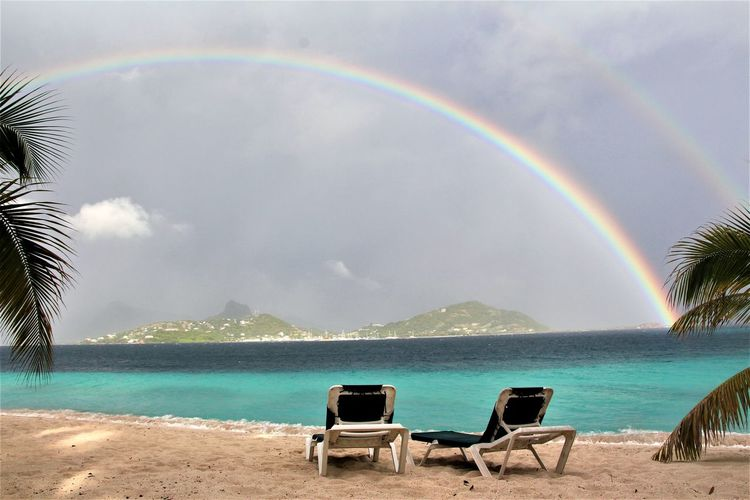 afternoon rain Rainbow Beach Sea Nature Idyllic Sand Beauty In Nature Day Double Rainbow Tranquility Multi Colored Outdoors Water Relaxation Horizon Over Water Sky Scenics