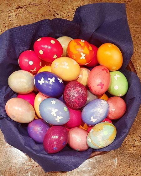Ostereier Multi Colored High Angle View Variation Close-up Food And Drink Easter Egg Egg Carton Eggcup Animal Egg Easter Nest Easter Cake Egg