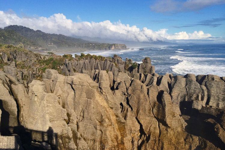 Scenic View Of Pancake Rocks Against Sky