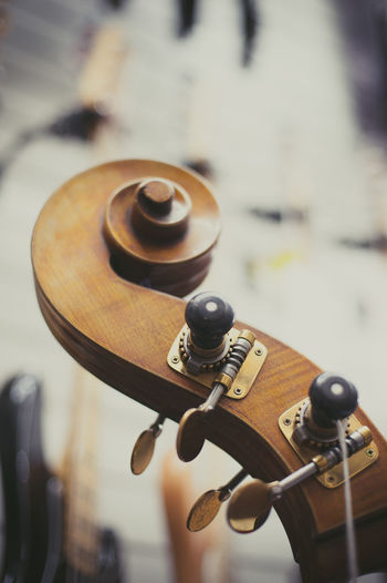 Headstock of double bass Chords Double Bass Headstock Music Musical Instrument Selective Focus Shop Showroom Sound Store String Stringed Instrument Strings Wooden