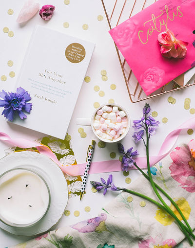 Simple Flat Lay Images. Blogger Celebration Close-up Directly Above Flatlay Flower Flowering Plant Food And Drink Freshness High Angle View Indoors  No People Plant Table